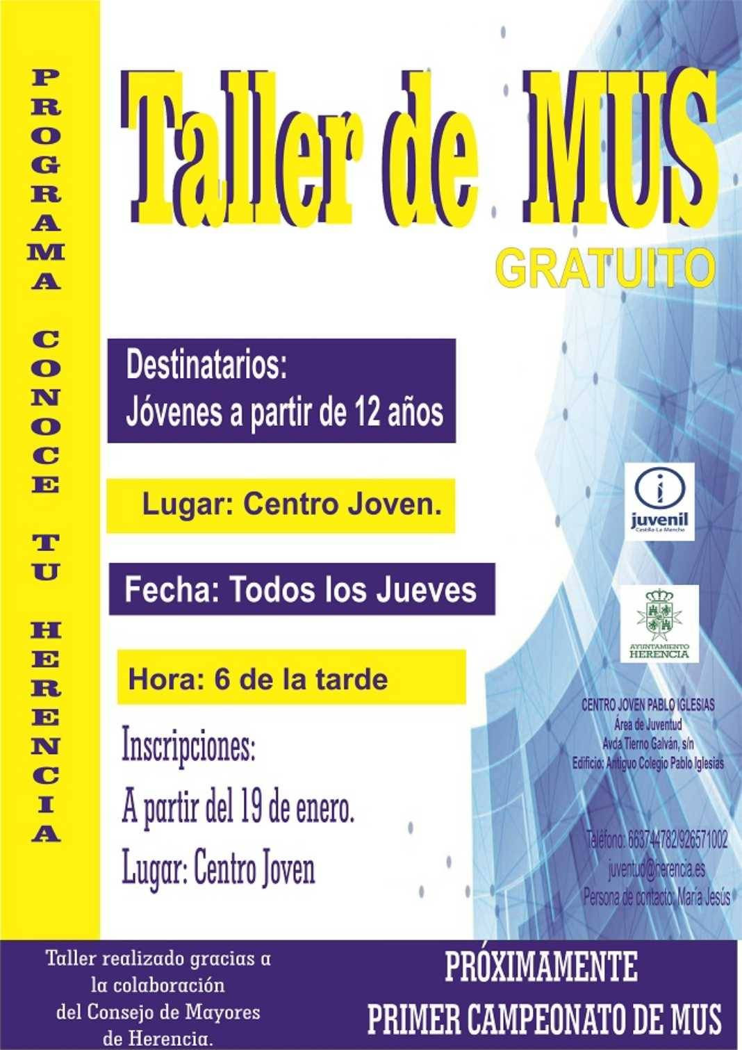 Taller de Mus Herencia 1068x1511 - El área de Juventud organiza un taller de mus