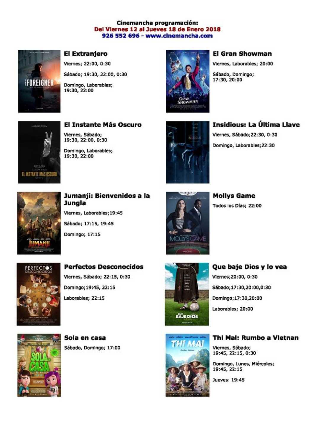 Cartelera Cinemancha del 12 al 18 de enero 2