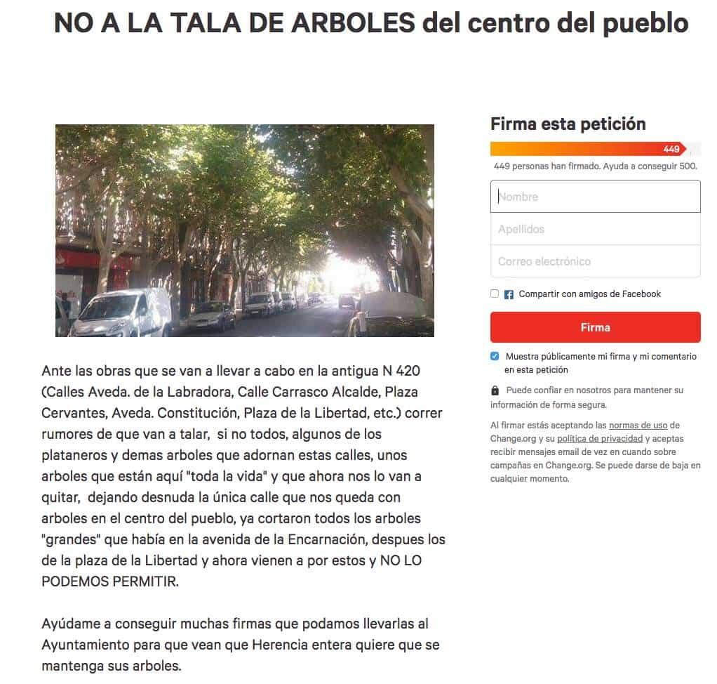 change tala plataneros herencia - ¿Se talarán los plataneros de la Avenida de la Constitución en Herencia?