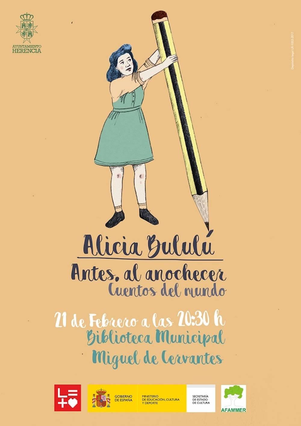 Cartel Cuentos Alicia Bululu escudo - Cuentacuentos para jóvenes y adultos con Alicia Bululú