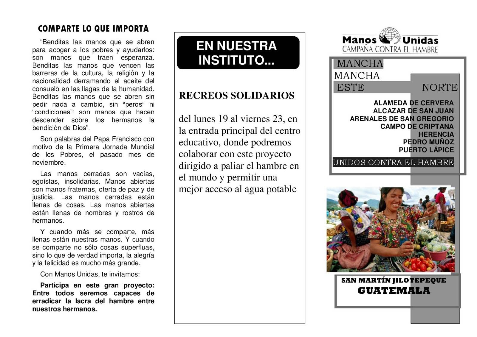 MANOS UNIDAS TRIPTICO 2018 Herencia 001 - Manos Unidas y solidarias en las Jornadas del Hermógenes