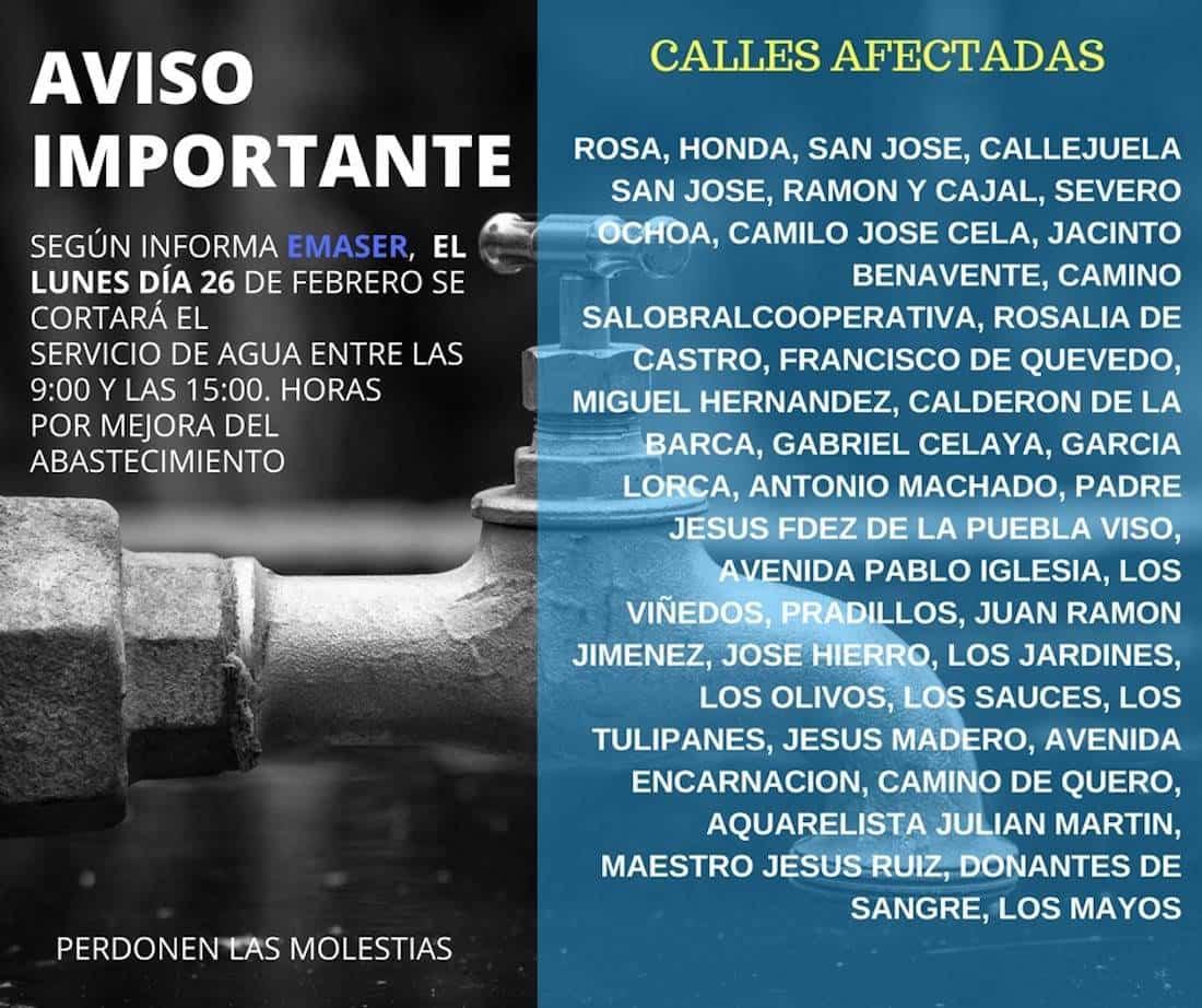 aviso cortes de agua herencia 26 febrero - Cortes de agua en algunas calles para el 26 de febrero 2018