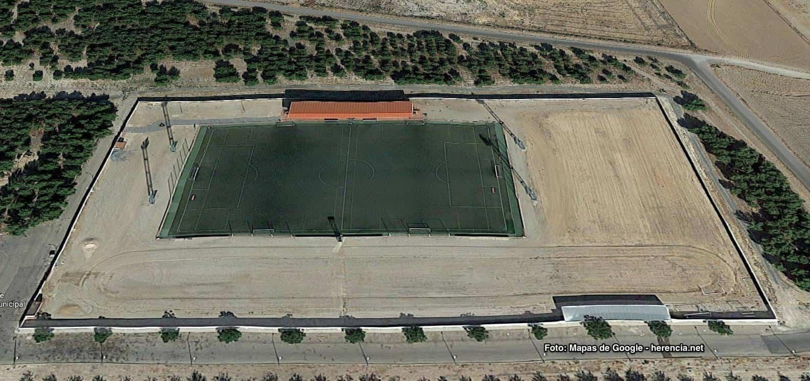 campo de futbol herencia mapa aereo - Próxima renovación del césped del Campo de Fútbol y nuevo campo de fútbol 8