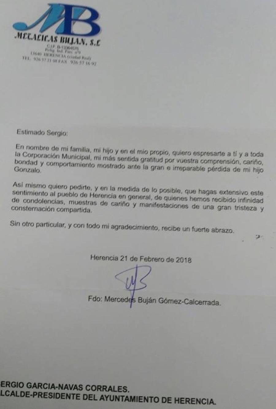 carta mercedes bujan ayunto - Carta de agradecimiento de la madre de Gonzalo Buján