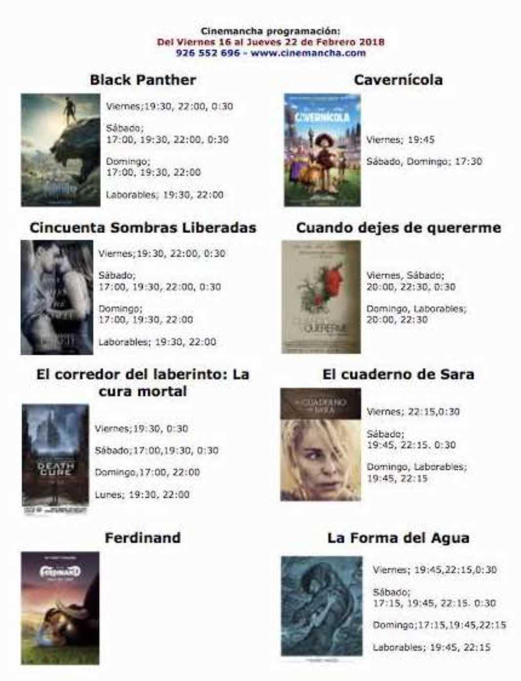 Programación Cinemancha del viernes 16 al jueves 22 de febrero 2