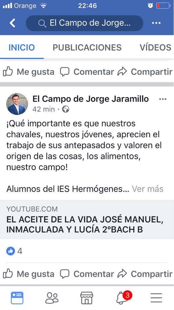 el campo de jorge jaramillo y Herencia - El aceite de la vida, cortometraje de José Manuel, Inmaculada y Lucía