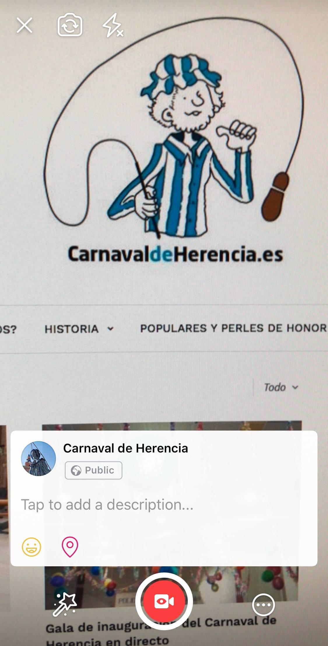 emitir en directo desde pagina facebook - Inauguración del Carnaval de Herencia 2018 en directo