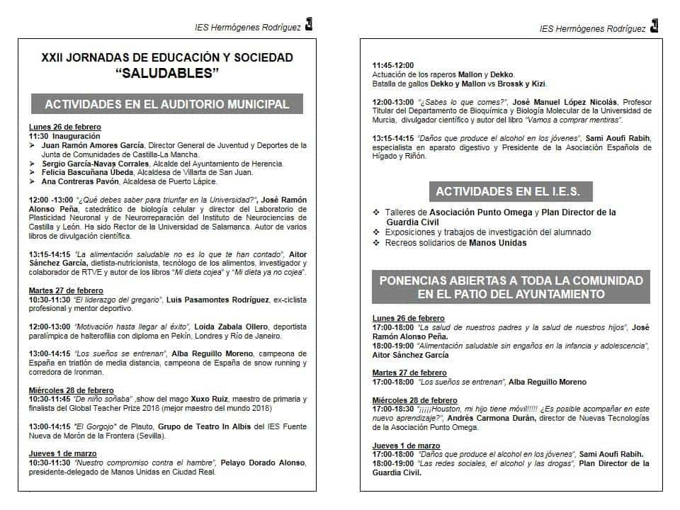 jornadas educacion saludable herencia 2 - Las XXII Jornadas del IES Hermógenes Rodríguez dedicadas a hábitos saludables
