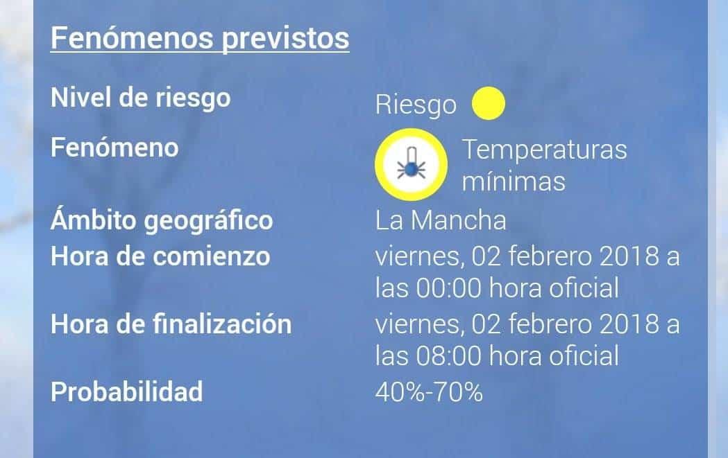 Aviso amarillo por temperaturas mínimas en Herencia 7