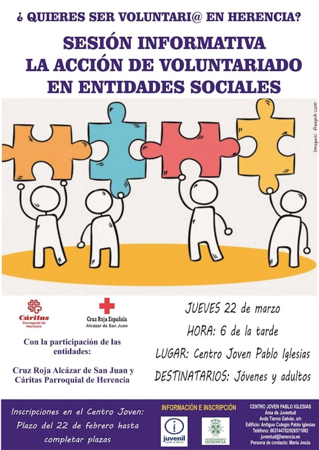sesion informativa voluntariado 1068x1505 - ¿Quieres ser voluntario? Ya puedes informarte en el Centro Joven de Herencia