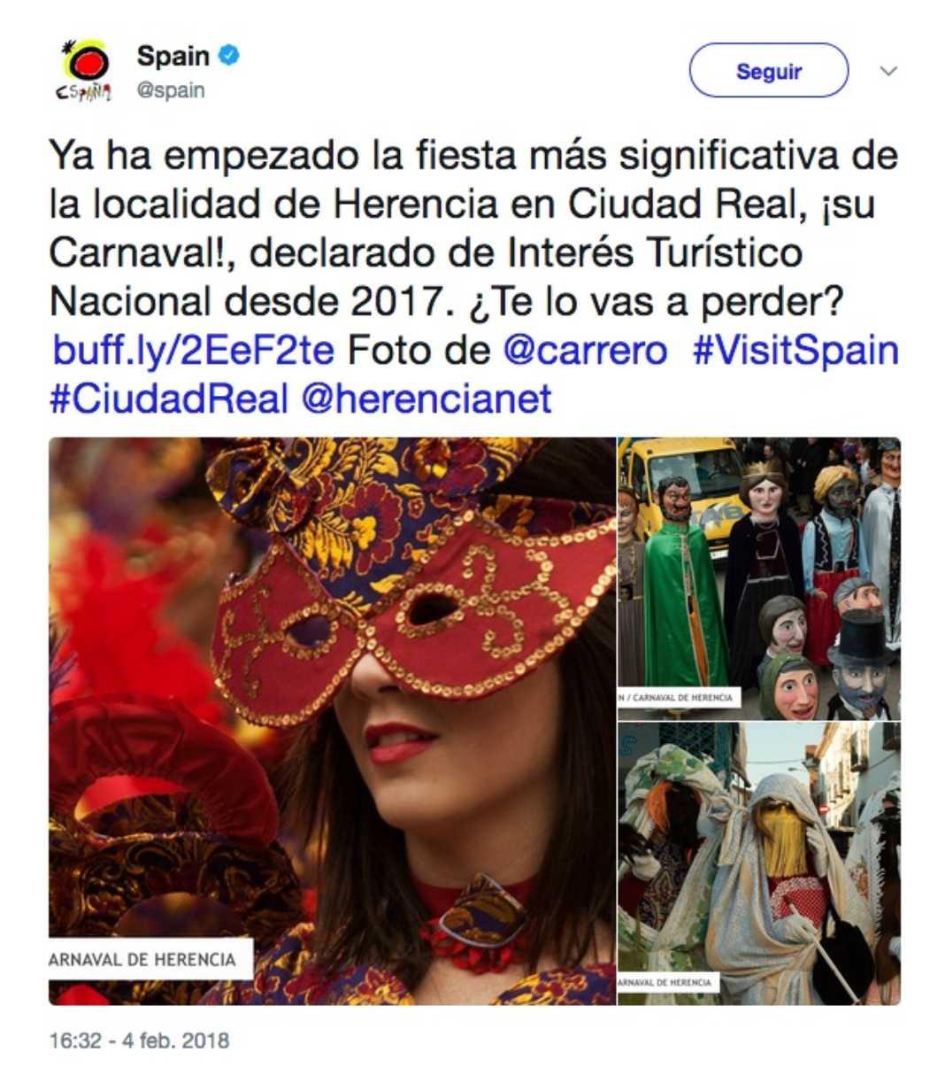TUREspaña publica el Carnaval de Herencia en su Twitter 1