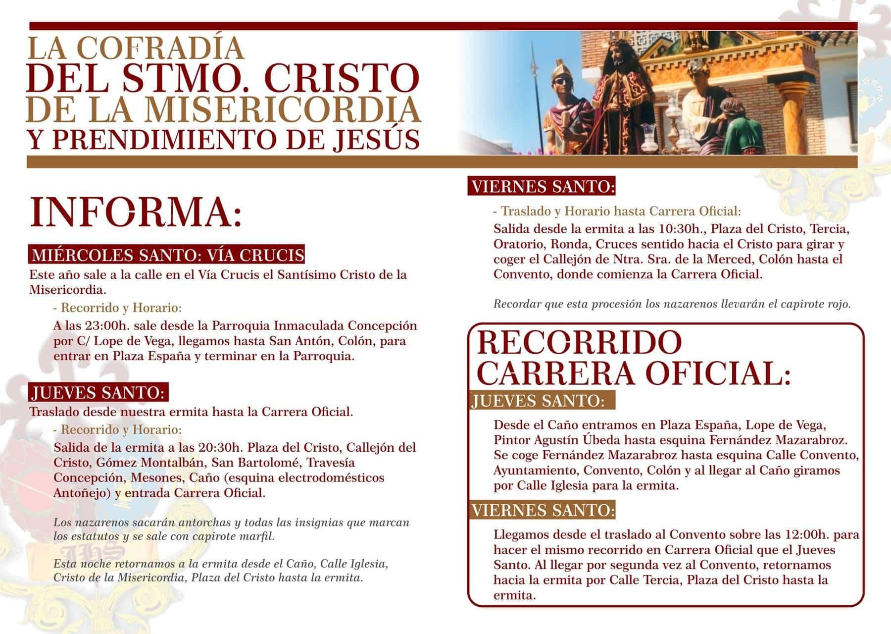 """2018 MISERICORDIA diptico semana santa 02 - Cambios en recorrido y horarios de Cofradía de """"El Cristo"""""""