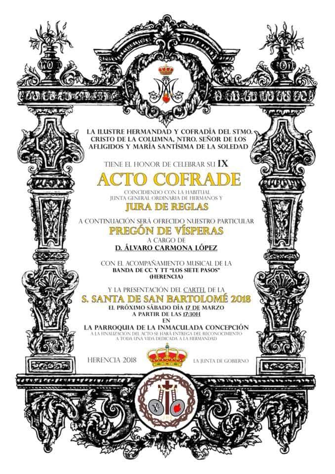 Acto cofrade de la hermadad de El Santo 2018 - Acto cofrade de la hermandad del Santo y besamanos del Cristo de la Columna