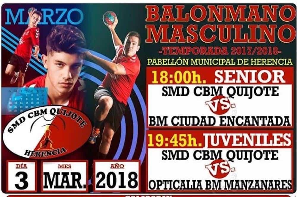 Balonmano en Herencia 3 de marzo: SMD CBM Quijote vs BM Ciudad Encantada y Opticalia BM Manzanares 3