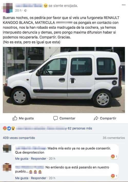 captura facebook robo furgoneta - Detenidos tres presuntos autores de los robos en los últimos días
