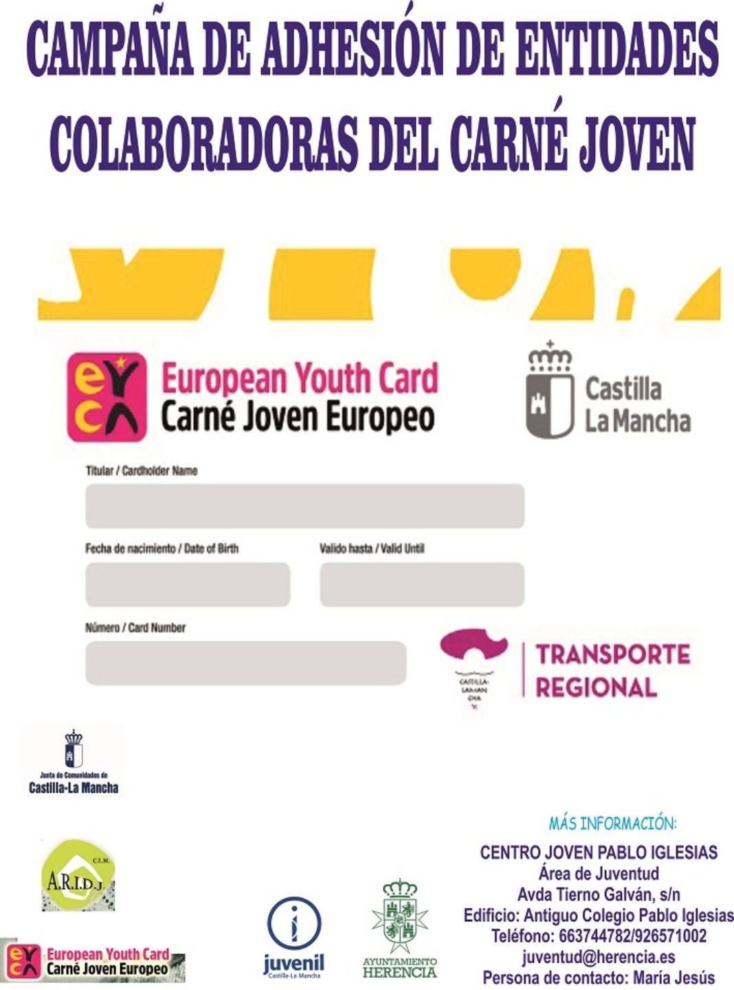 cartel adhesion carne joven 1068x1439 - Juventud promociona el carné joven europeo entre los establecimientos del municipio