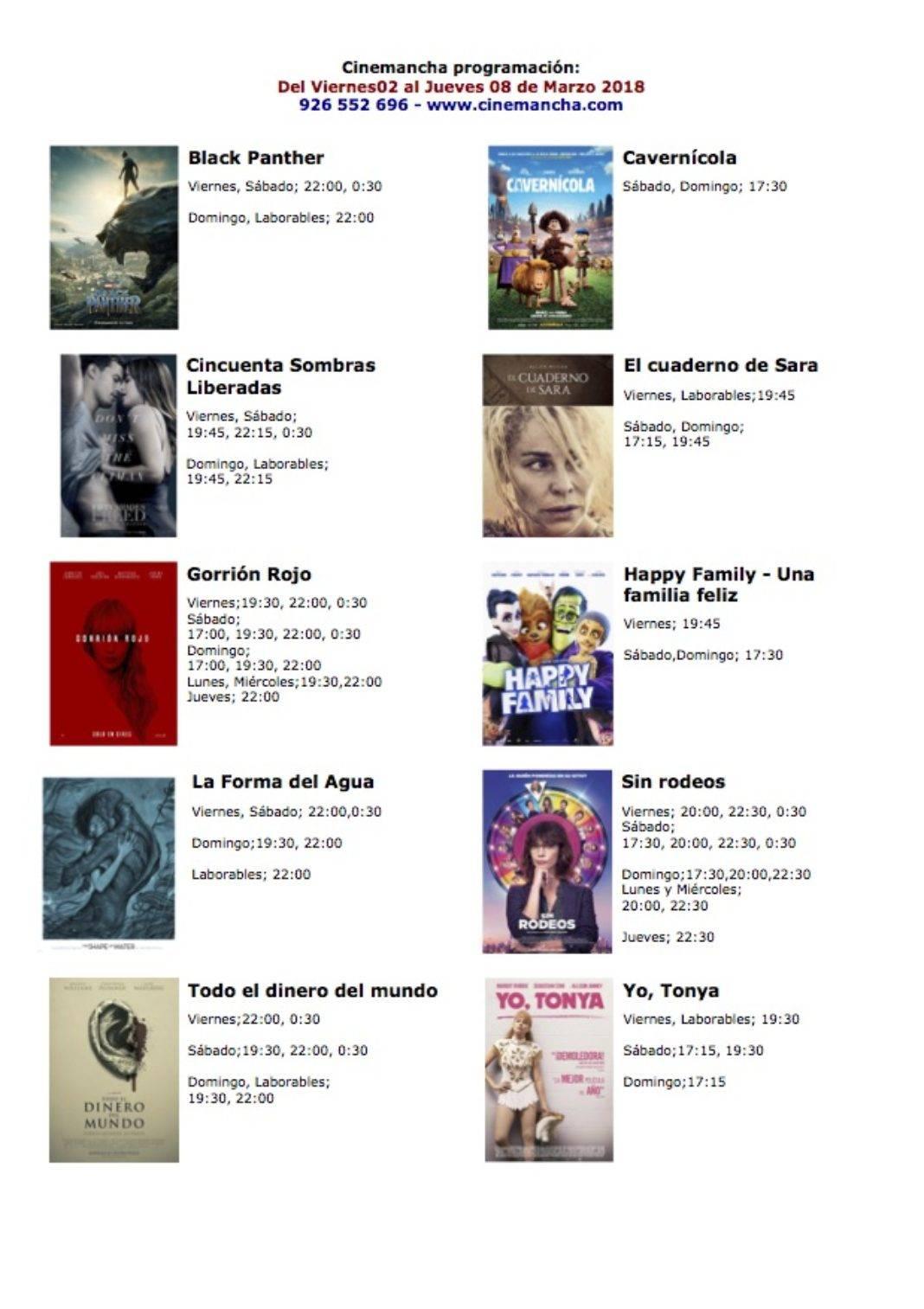 Cartelera de los multicines Cinemancha del 02 al 08 de marzo 4