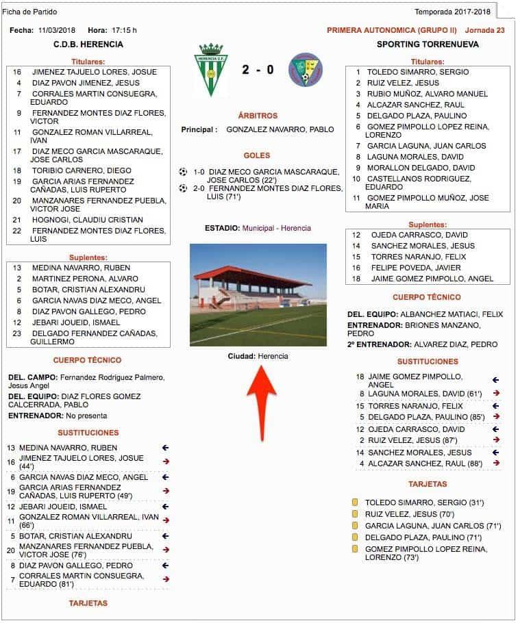 ficha partido jornada 23 herencia torrenueva - C.D.B. Herencia venció al Sporting Torrenueva por 2-0