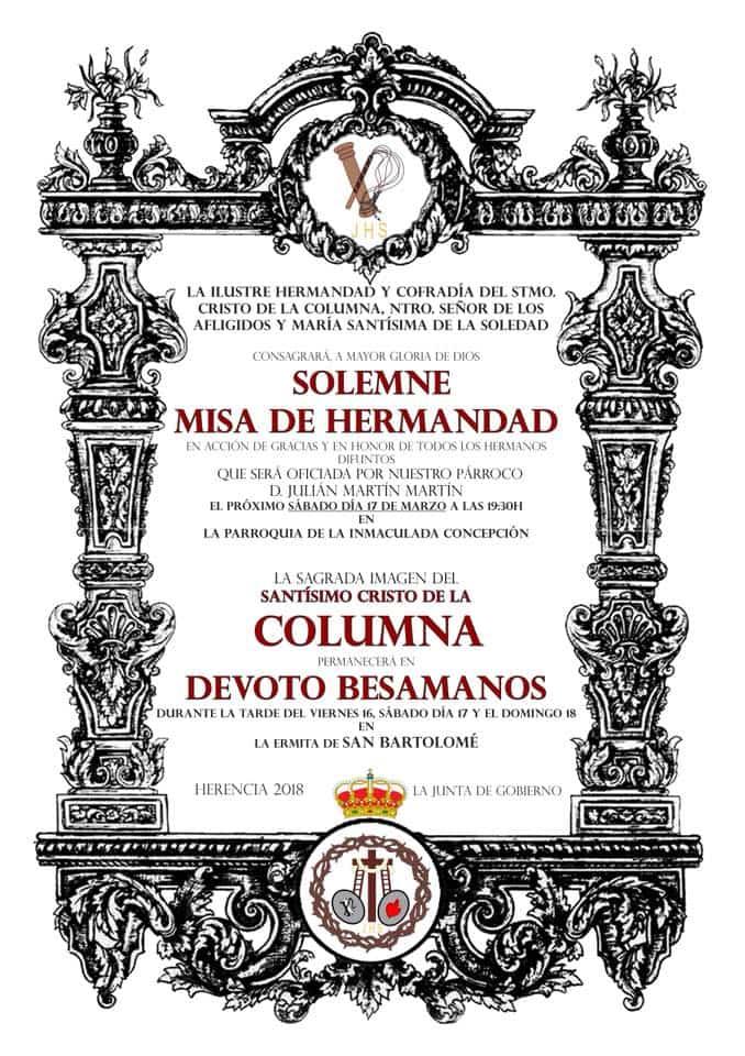 misa de hermandad del Santo Semana Santa Cuaresma 2018 - Acto cofrade de la hermandad del Santo y besamanos del Cristo de la Columna