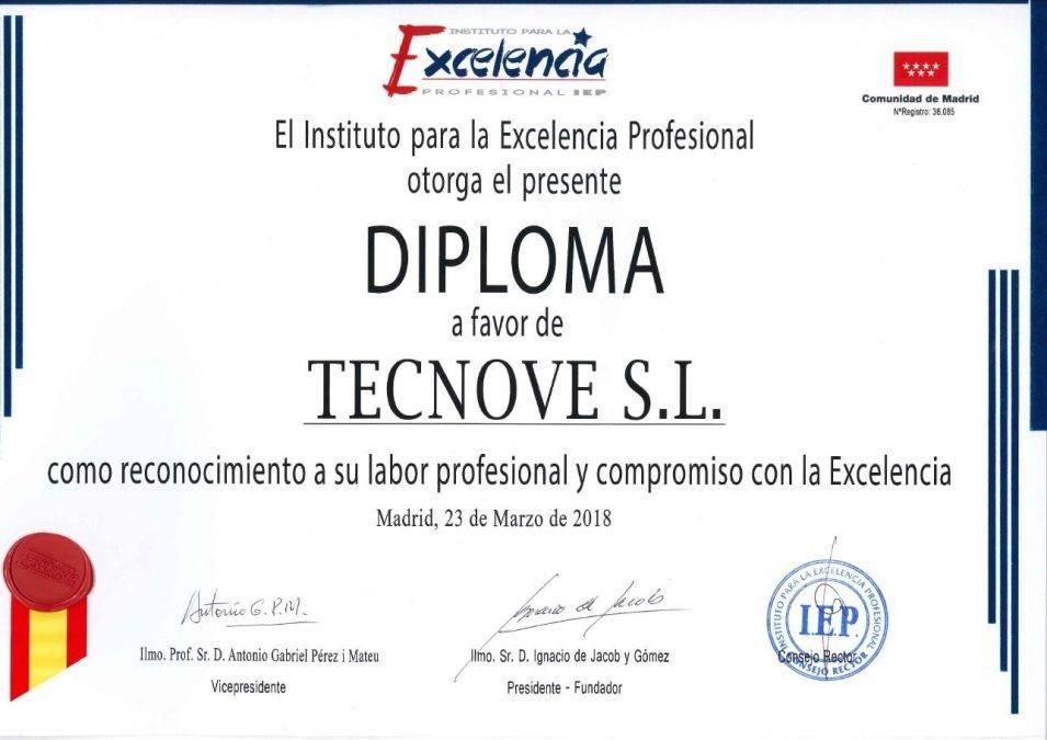 Certificado Estrella de Oro e1522493793799 - Tecnove logra la Estrella de Oro a la Excelencia Empresarial
