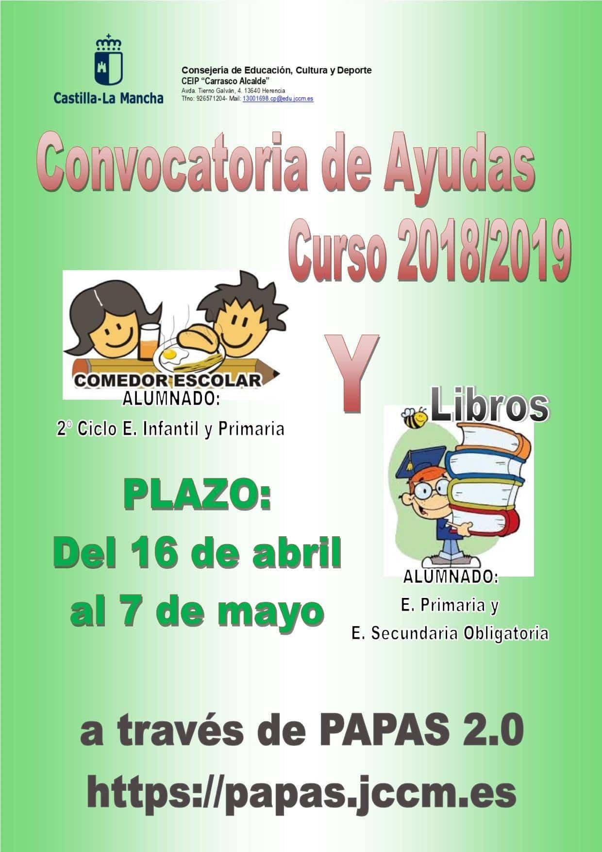 convocatoria ayuda libros comedor - Convocatoria de ayudas para comedor escolar y libros para curso 2018/2019