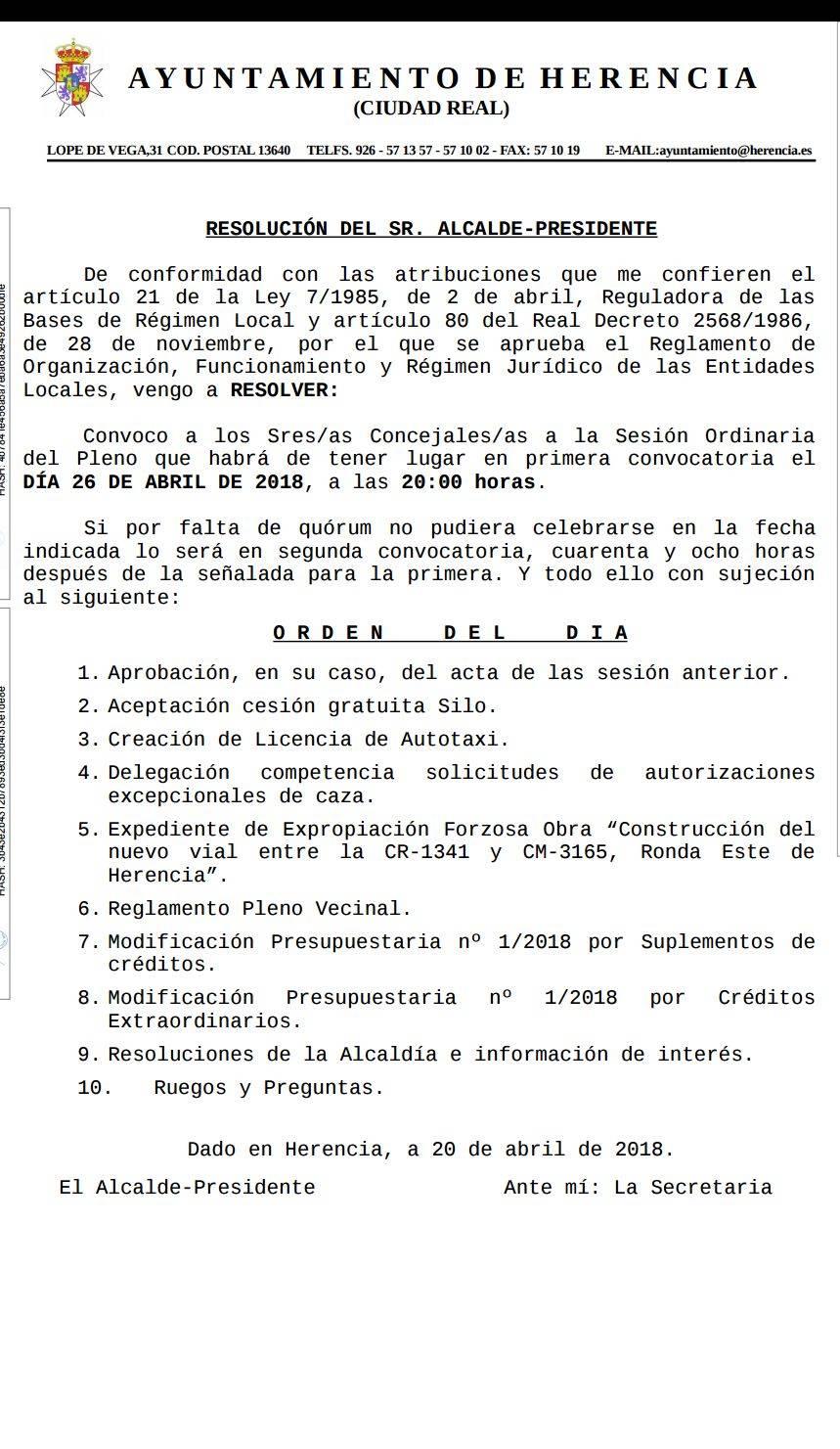 convocatoria pelno 26 abril 2018 - Herencia convoca pleno ordinario para el 26 de abril de 2018