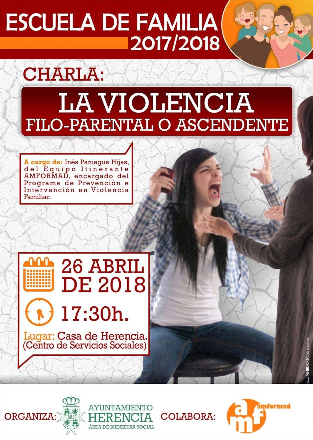 escuela familia violencia familiar 1068x1502 - La Escuela de Familia finaliza su temporada 2017/2018