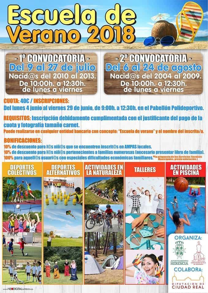 Cartel escuela de Verano de Herencia 2018 - El 4 de junio se abre el periodo de inscripciones para la Escuela de Verano 2018