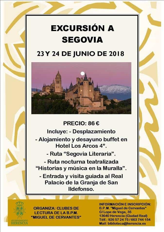 Cartel excursion Segovia - Los clubes de lectura organizan un viaje a Segovia