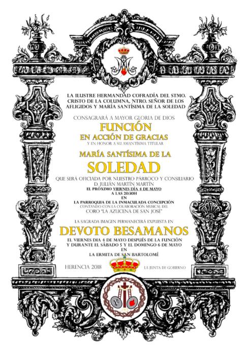 Funci%C3%B3n de accion de gracias a la Virgen de la Soledad - Función y besamanos en honor a la Virgen de la Soledad