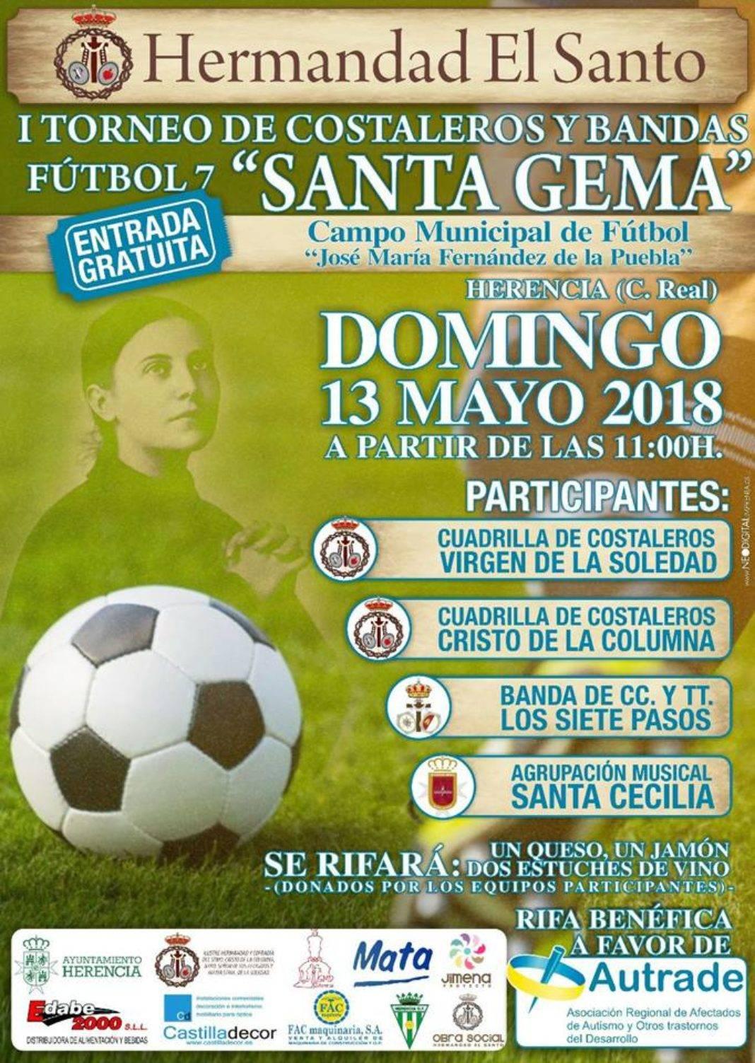 """I Torneo de Costaleros y bandas Santa Gema 1068x1503 - El Santo organiza su primer torneo de fútbol-7 de costaleros y banda """"Santa Gema"""""""