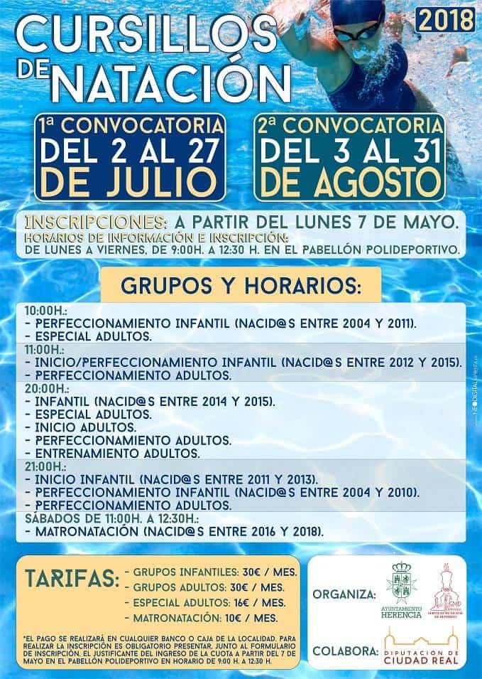 Inscripciones cursillos natacion Herencia - Plazo de inscripción para los cursillos de natación