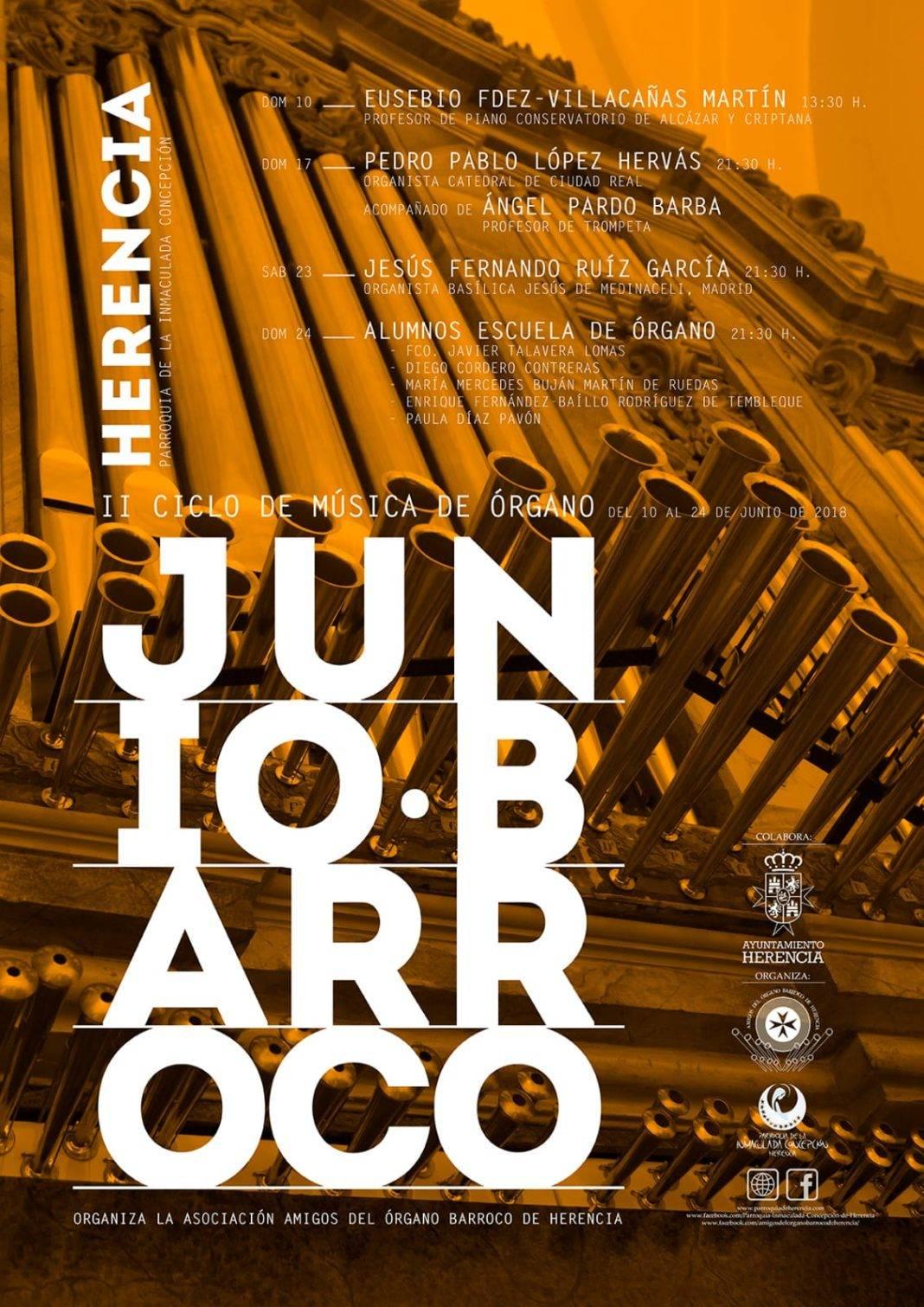 Herencia acoge su segundo ciclo de música de órgano barroco durante el mes de junio 2
