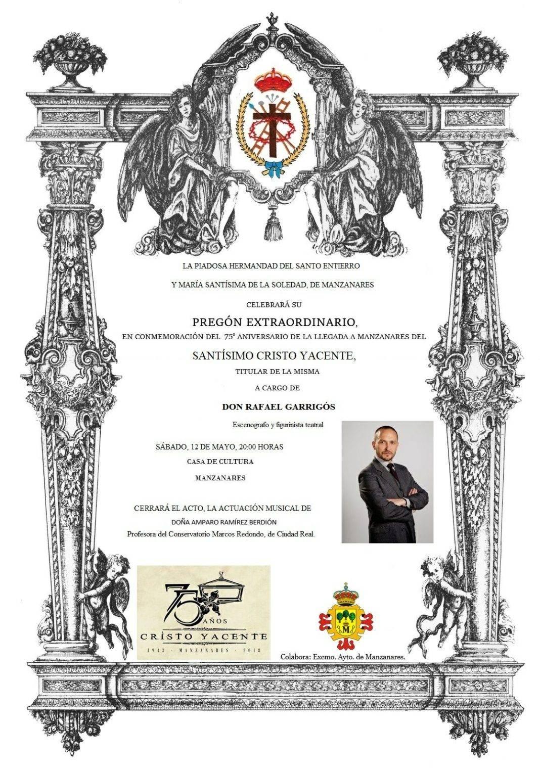 Rafael Garrigós dará el pregón extraordinario de la Hermandad del Santo Entierro de Manzanares 4