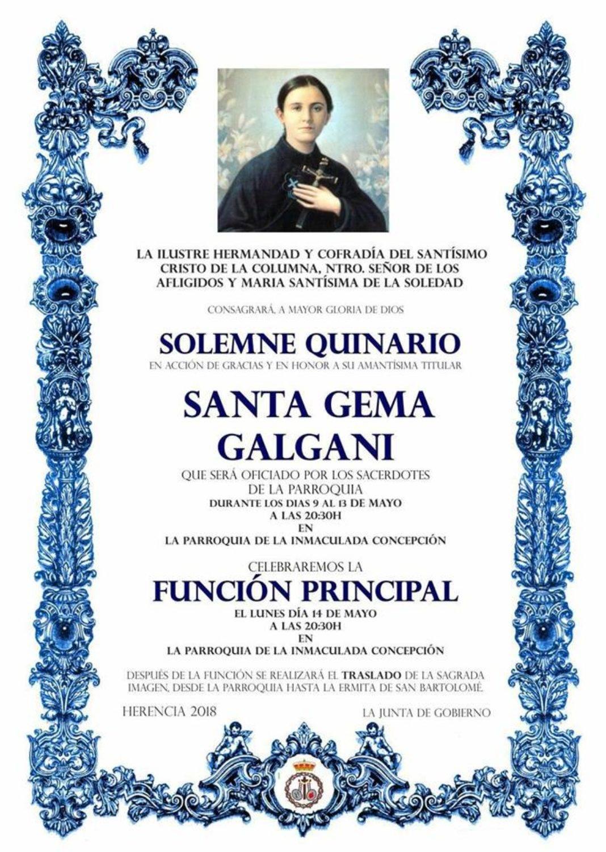 Quinario a Santa Gema en Herencia 1068x1501 - Quinario y función en honor a Santa Gema Galgani