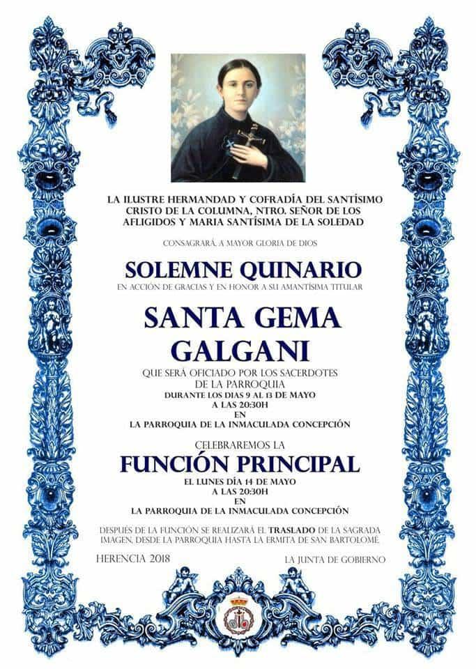Quinario a Santa Gema en Herencia - Quinario y función en honor a Santa Gema Galgani