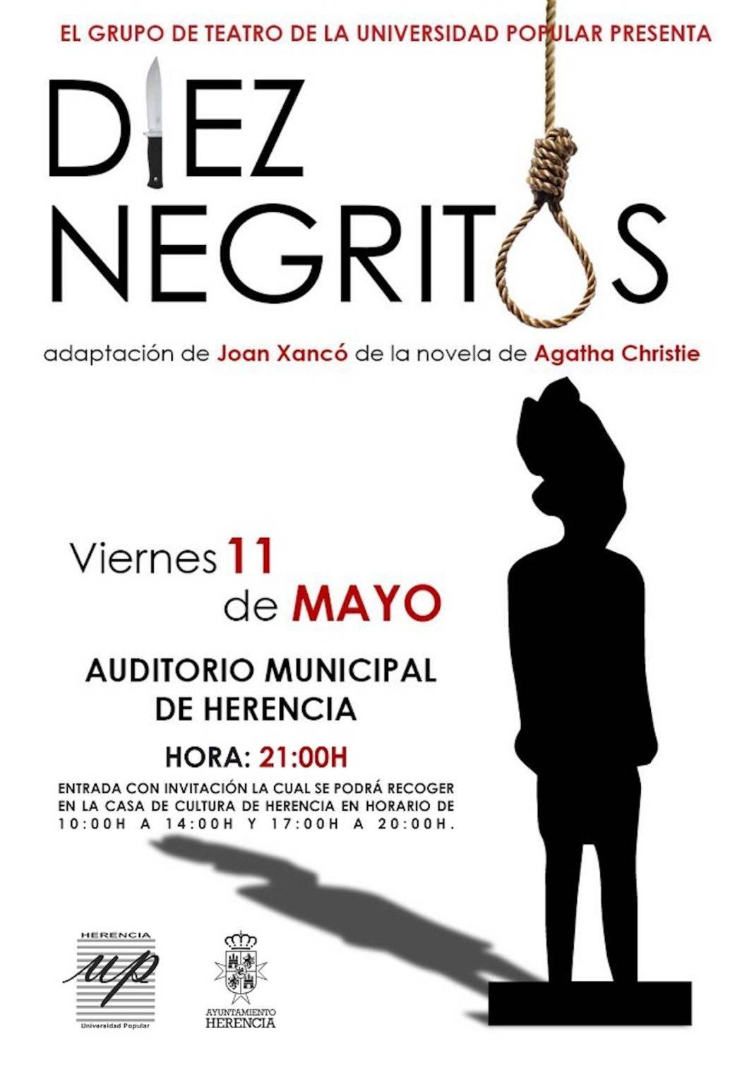 """obra teatro negritos herencia 1068x1511 - El taller de Teatro de la Universidad Popular representa la obra """"Diez Negritos"""" en el Auditorio Municipal"""
