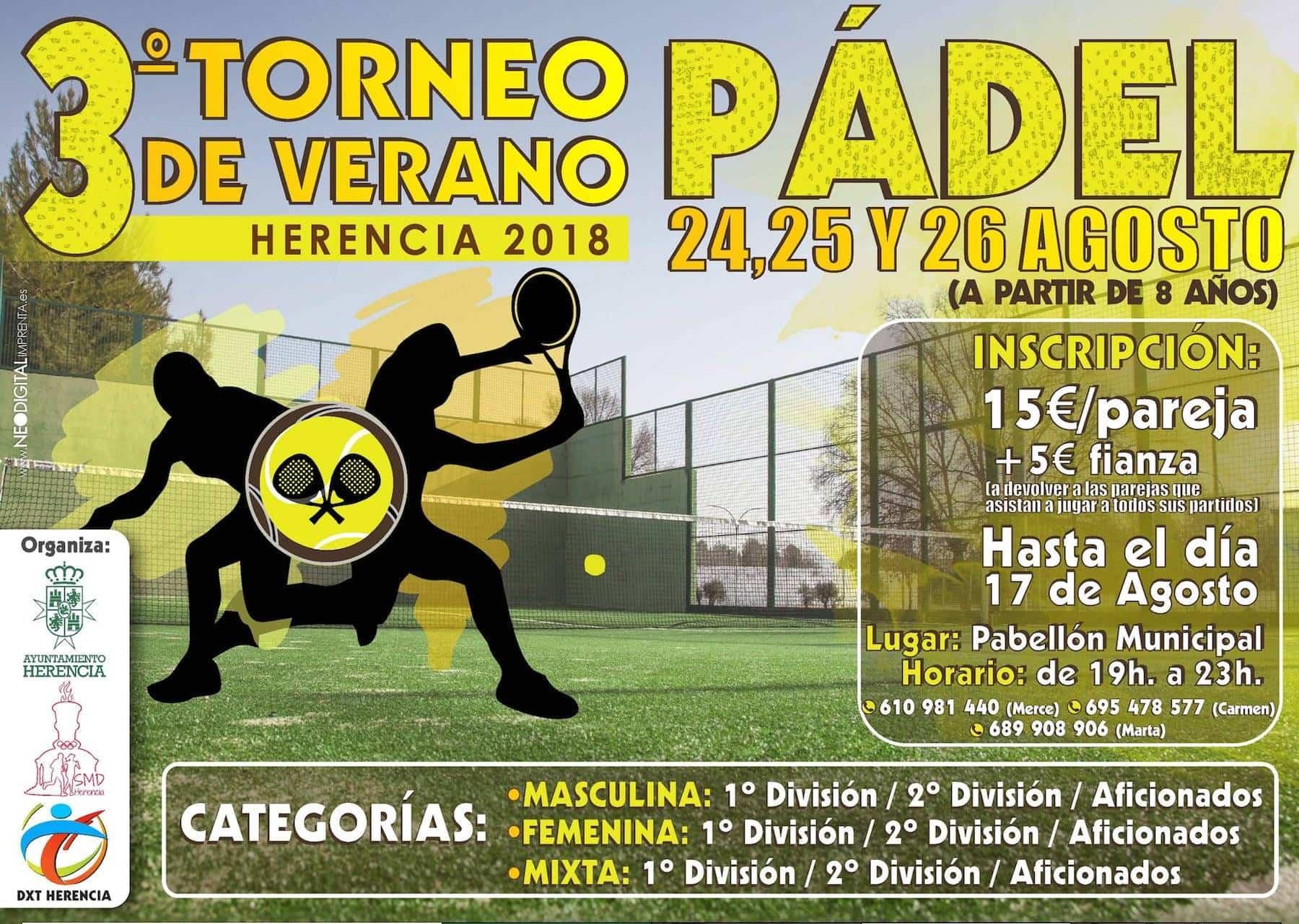 3 torneo de padel verano herencia - Tercer Torneo de Pádel de Verano 2018 en Herencia