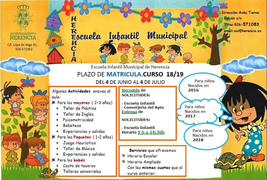 Escuela Infantil Municipal 2018 - Abierto el periodo de matrícula para la Escuela Infantil Municipal