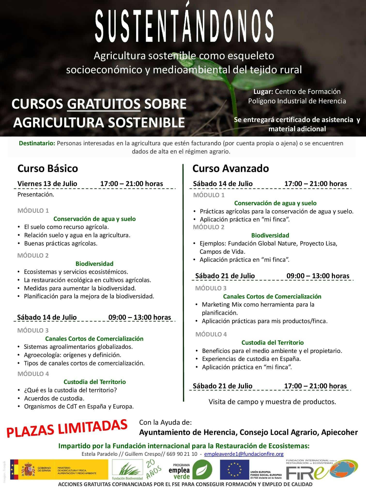 Programa de contenidos curso en Herencia - Cursos gratuitos sobre agricultura sostenible en Herencia