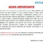 Aviso importante de EMASER por cortes de agua los días 12 y 13 de junio 1