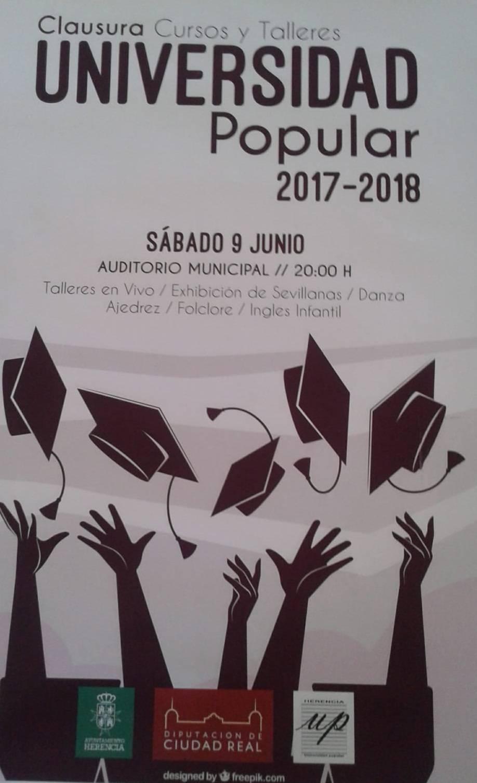 cartel clausura universidad popular de herencia - Fiesta de fin de curso de los talleres de la Universidad Popular