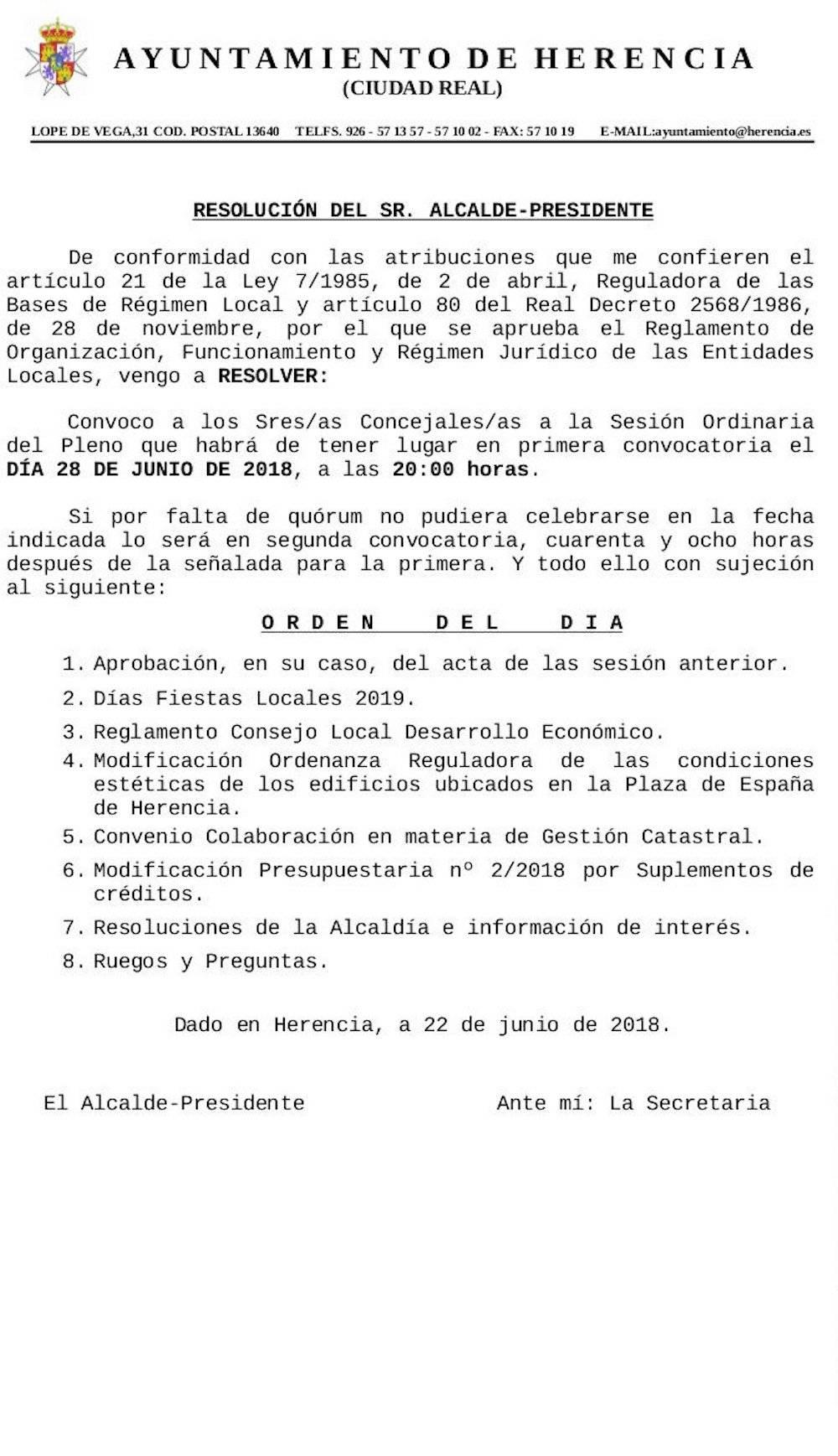 pleno ordinario herencia 28 junio 2018 - Convocado el Pleno Ordinario de Herencia el próximo jueves 28 de junio 2018
