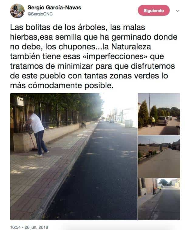 twitter alcalde herencia chupones y brotes limpieza - Limpieza de brotes y chupones en acerados de Herencia