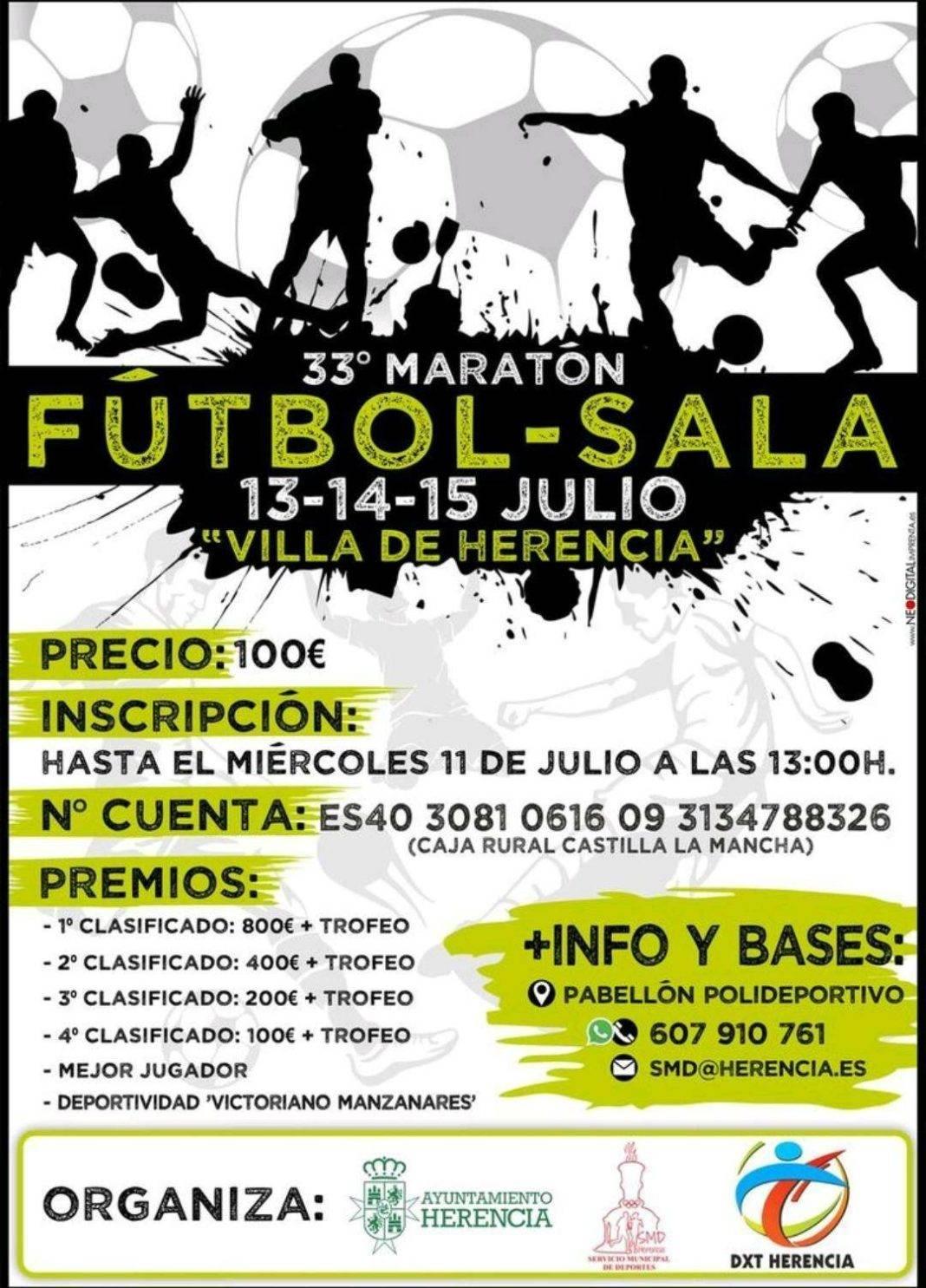 """33 maraton futbol sala herencia 1068x1485 - Comienza el 33 Maratón de Fútbol Sala """"Villa de Herencia"""""""