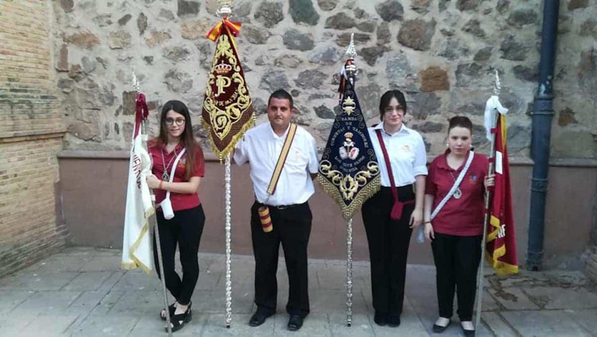 Banda siete pasos con virgen del carmen - Los Siete Pasos acompañan a la Procesión de la Virgen del Carmen en Herencia