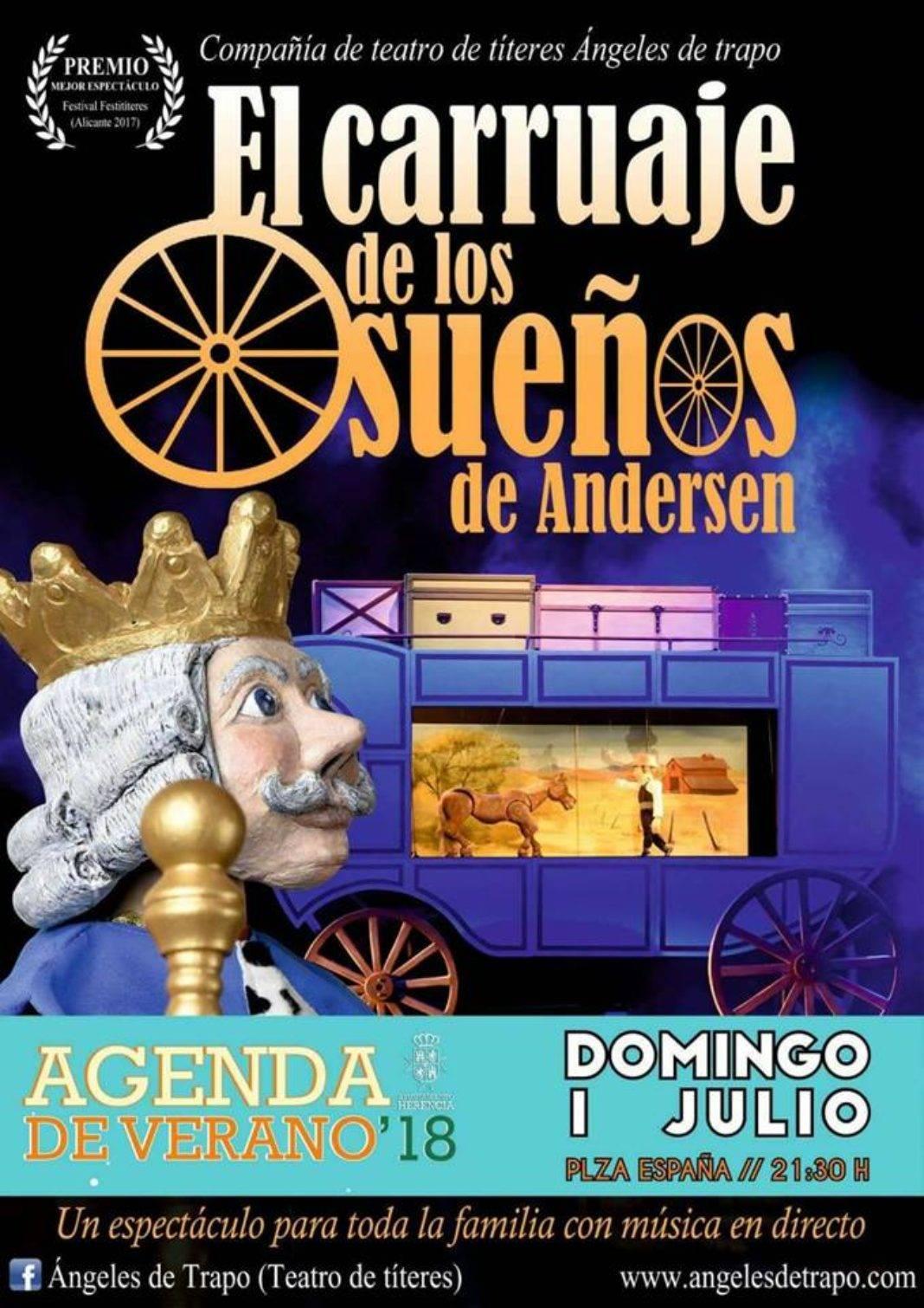 """El carruaje de los sueños de Andersen 1068x1510 - Los títeres de """"Elcarruaje de los sueños de Andersen"""" llegan a Herencia"""