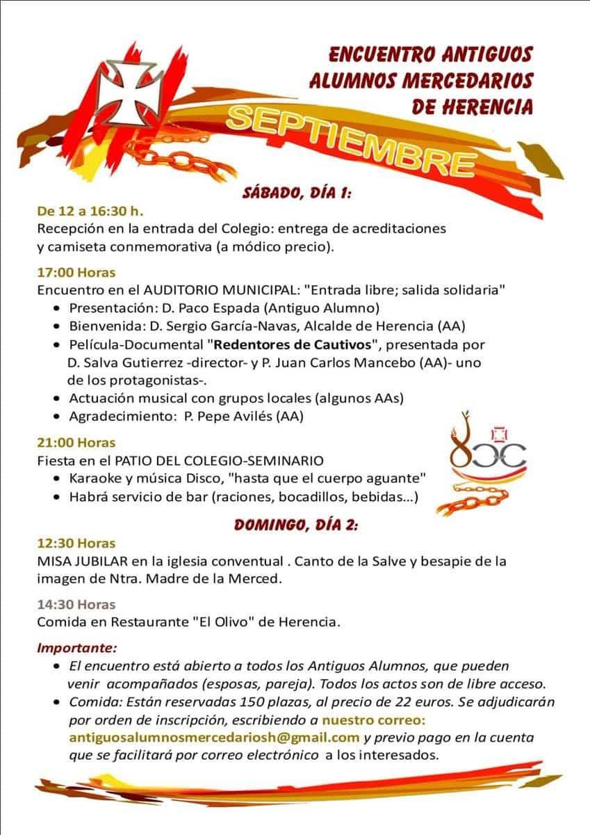 Encuentro de antiguos alumnos mercedarios de Herencia - Programación del Encuentro de Antiguos Alumnos Mercedarios de Herencia
