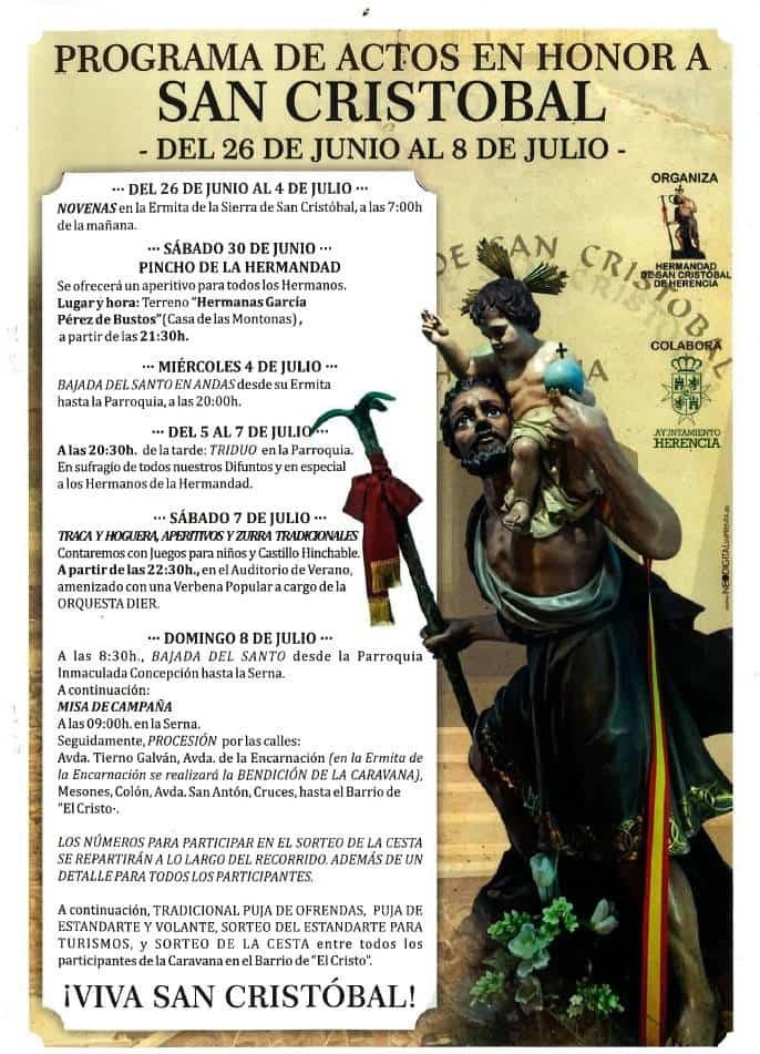Programa de Actos en honor a San Cristobal - Programa de actos religiosos y festivos en honor a San Cristóbal