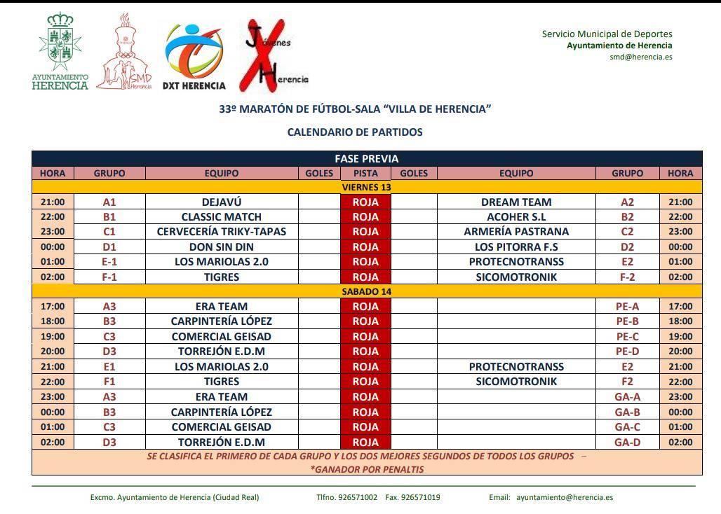 """calendario partidos 33 maraton futbol sala herencia - Comienza el 33 Maratón de Fútbol Sala """"Villa de Herencia"""""""